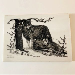 """Etched Montana Marble Wolves """"Silent Stare"""" Plaque"""